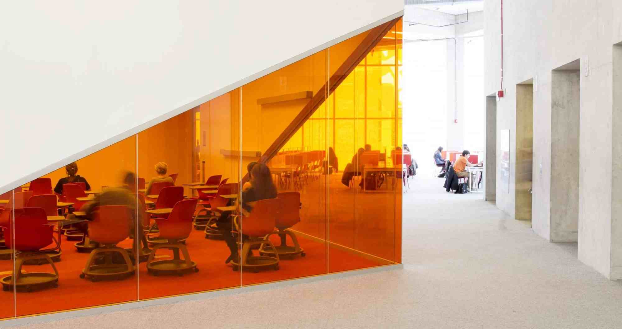 colored glass partition